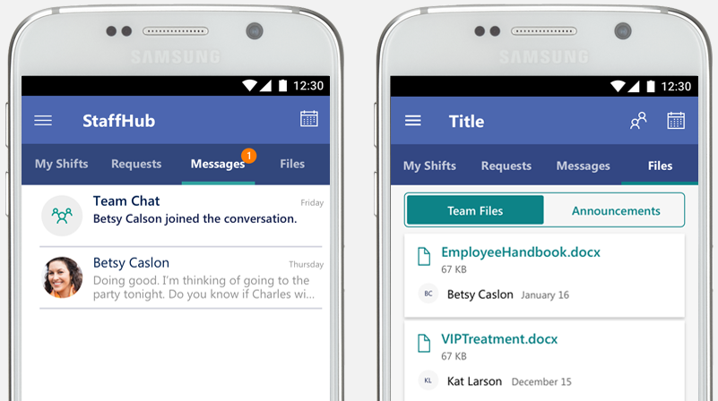 The StaffHub app showing communications between colleagues and company communications